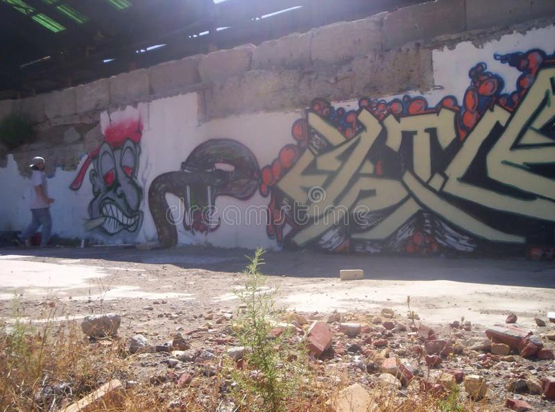 Etg zig snake rattler mural wall paint graffiti. Etg ziv zig snake rattler mural wall paint royalty free stock photography