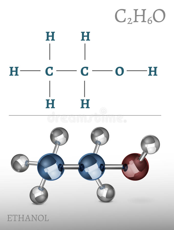 Ethanol Molecule Image. Ethanol molecule in volumetric style. C2H6O vector illustration isolated on a white background. Scientific, educational and popular royalty free illustration