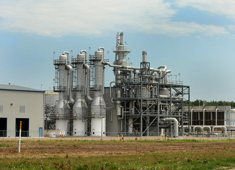Ethanol Plant Distillation Towers stock image