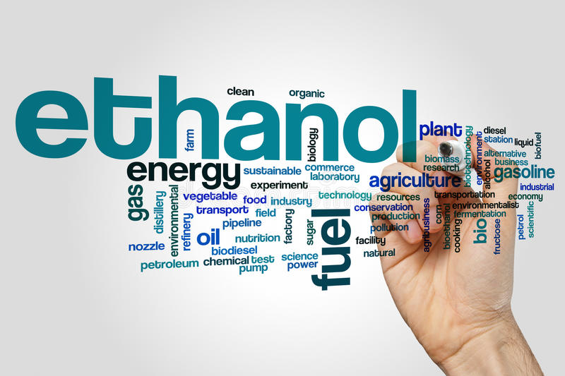 Ethanol word cloud. Concept on grey background stock photography