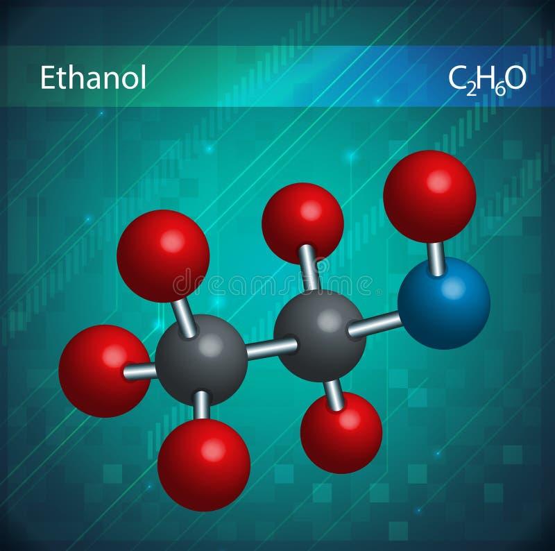 Ethanolmolekylar vektor illustrationer
