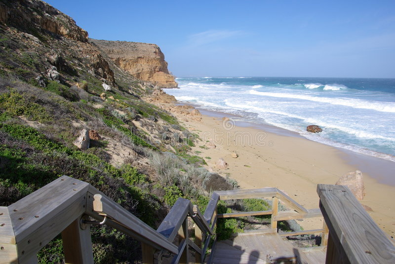 Ethel Beach Steps. The steps leading down to Ethel beach, overlooking the final resting place of the Ethel shipwreck. Innes National Park, Yorke Peninsula, South royalty free stock photos