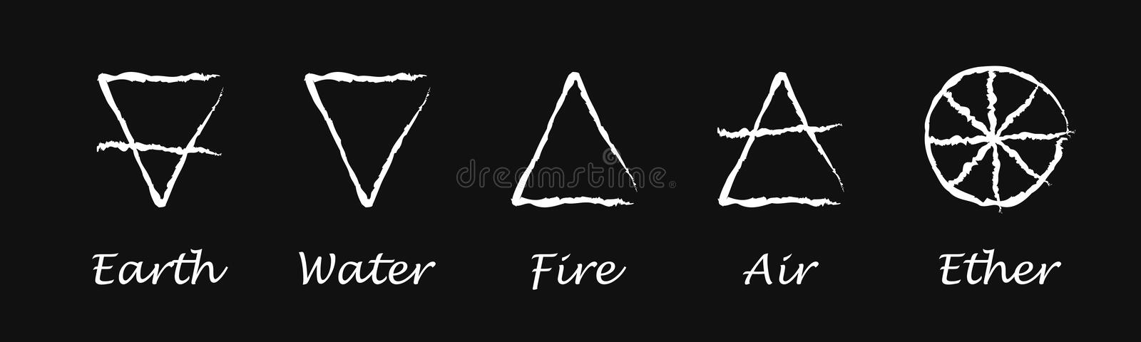 Ether. Air. Earth. Fire. Water. Alchemy vector icons. Vector illustration royalty free stock image
