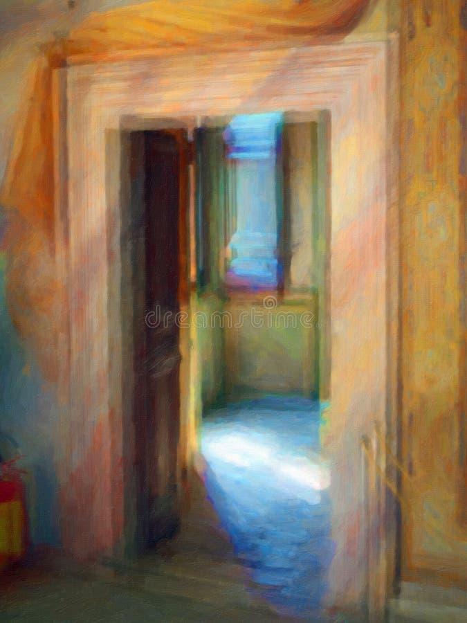 Ethereal κενά δωμάτια, ύφος ελαιογραφίας στοκ εικόνα με δικαίωμα ελεύθερης χρήσης