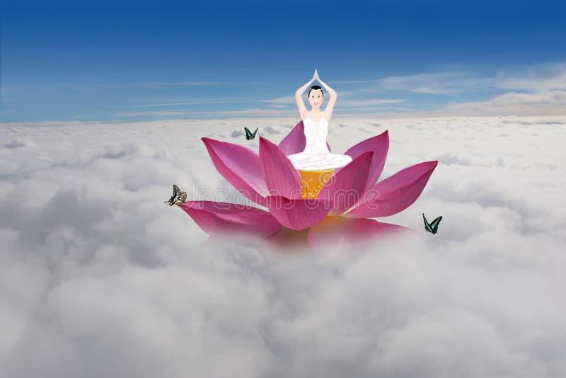 Ethereal χώρα των θαυμάτων Lotus γιόγκας στοκ εικόνες