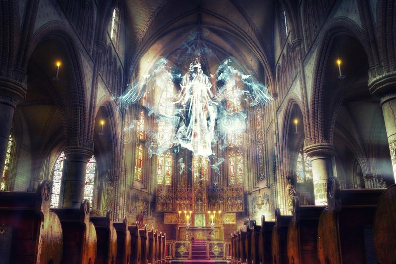 Unseen Reality. Angel Hovering in the Church. Ethereal angel hovering under the dome of the church