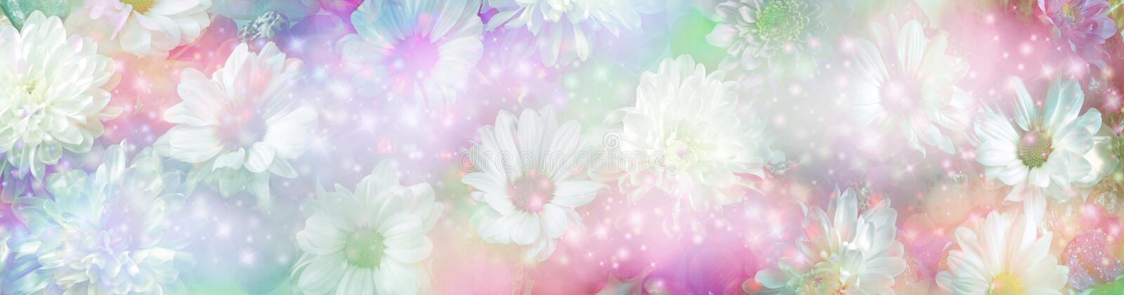 Ethereal daisies and gemstones background banner stock photos