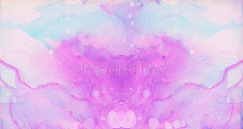 Ethereal fantasy light blue, pink and purple alcohol ink abstract background. Bright liquid watercolor paint splash texture effect. Illustration for card design stock photography