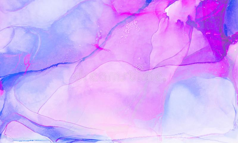 Ethereal fantasy light blue, pink and purple alcohol ink abstract background. Bright liquid watercolor paint splash texture effect. Illustration for card design royalty free stock photos