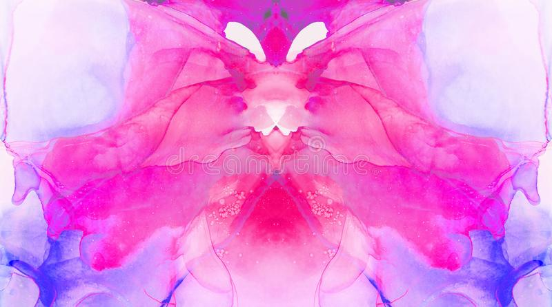Ethereal fantasy light blue, pink and purple alcohol ink abstract background. Bright liquid watercolor paint splash texture effect. Illustration for card design royalty free stock photo