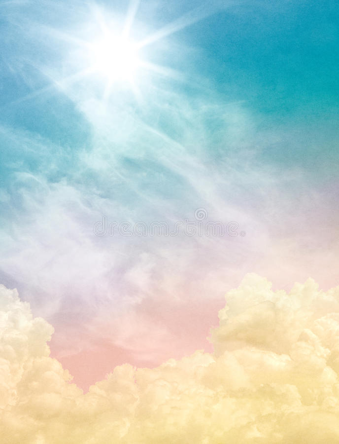 Ethereal Light. Billowing and wispy clouds with a sunburst light effect. Image displays soft, pastel colors and a paper grain and texture at 100 percent