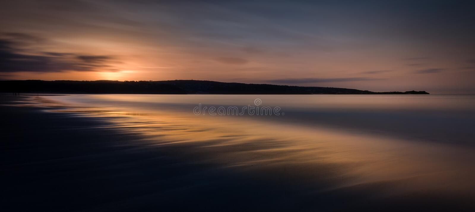 Ethereal Seascape at Sunset, Gwithian Sands, Cornwall, UK royalty free stock images