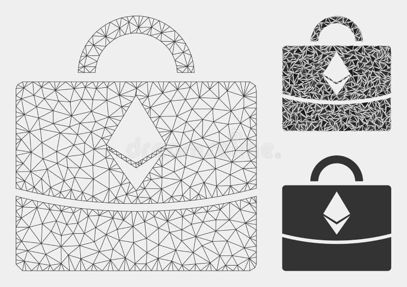 Ethereum企业案件传染媒介滤网接线框模型和三角马赛克象 向量例证