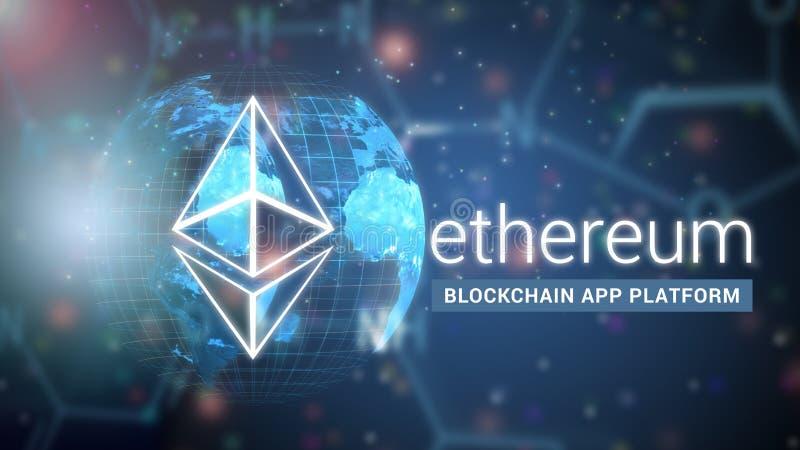 Ethereum分权了跑聪明的合同的平台,块 免版税库存照片
