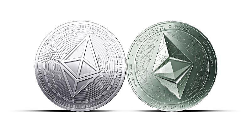 Ethereum和Ethereum经典硬币碰撞在与拷贝空间的白色背景隔绝的 皇族释放例证