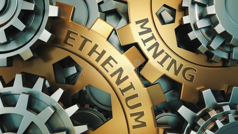 Ethereum埃特开采的概念 金子和银色齿轮weel背景例证 3d回报 皇族释放例证