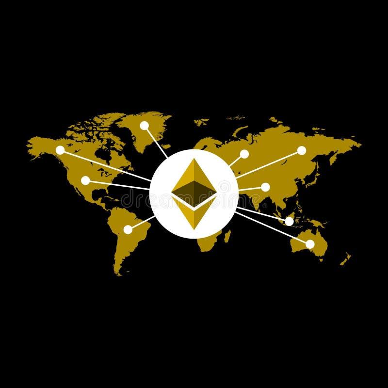 Ethereum根据世界地图的货币例证 皇族释放例证