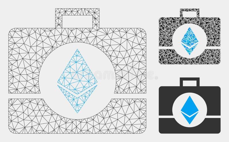 Ethereum水晶案件传染媒介网状网络模型和三角马赛克象 向量例证