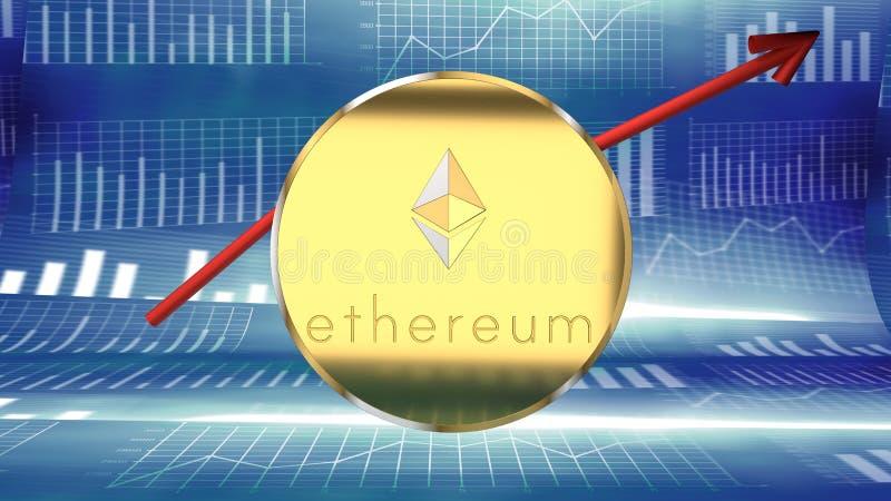 Ethereum硬币,网上金钱,数字货币,另一枚网络硬币 库存例证