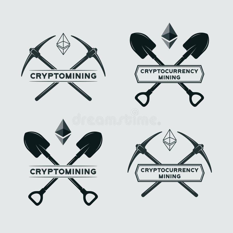 Ethereum采矿标志 库存例证