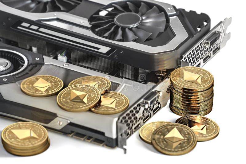 Ethereum采矿 使用赢得强有力的显示卡开采和cryptocurrencies 皇族释放例证