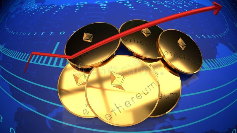 Ethereum,网上金钱, bitcoin选择,数字式互联网硬币 库存例证