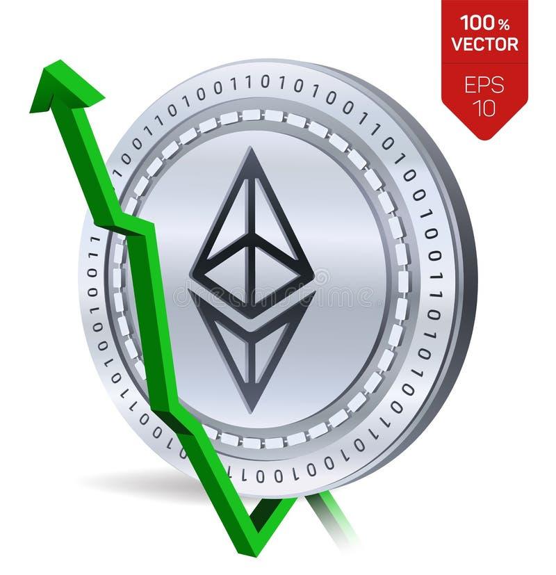 Ethereum ανάπτυξη πράσινος επάνω βελών Η εκτίμηση δεικτών Ethereum ανεβαίνει στην αγορά ανταλλαγής Crypto νόμισμα τρισδιάστατος i διανυσματική απεικόνιση