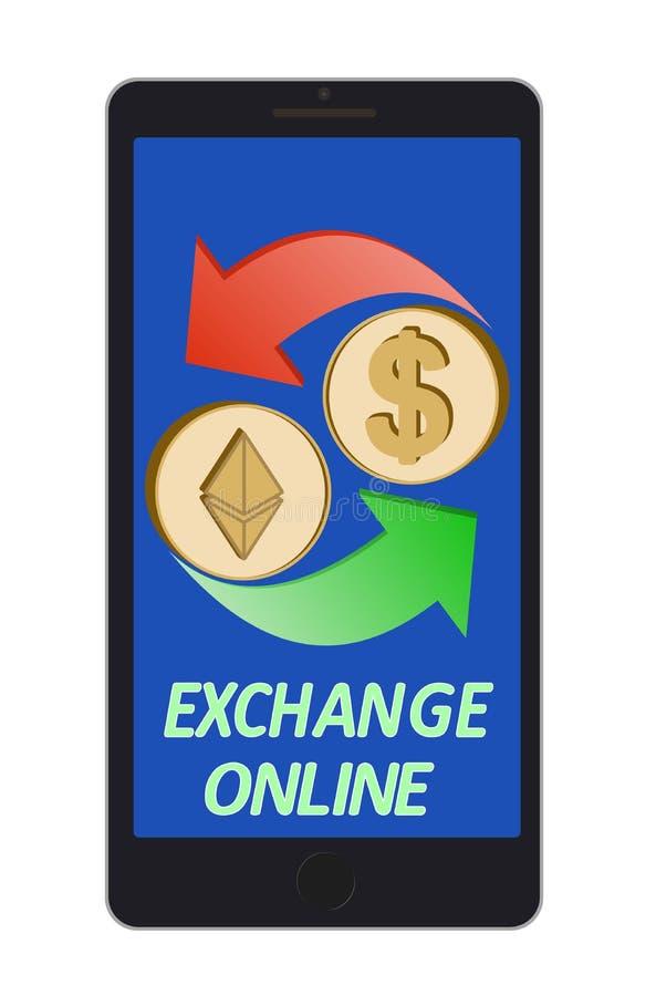 Ethereum ανταλλαγής στο δολάριο σε μια τηλεφωνική οθόνη απεικόνιση αποθεμάτων