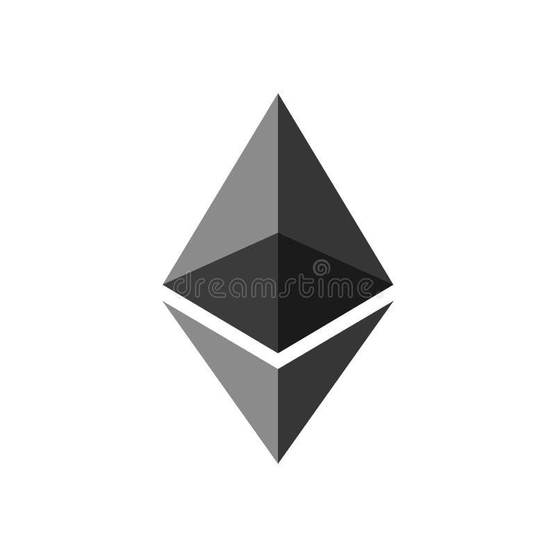 Ethereum Логотип Cryptocurrency Ethereum Деньги тайнописи современные иллюстрация штока