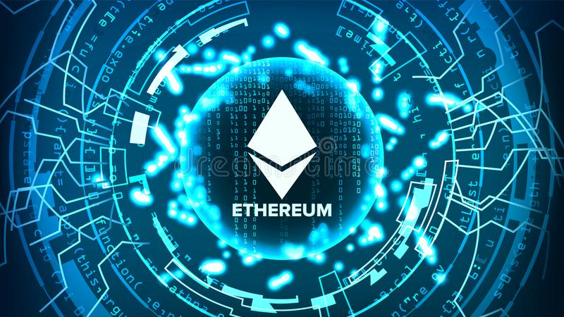 Ethereum Abstract Technology Background Vector. Binary Code. Fintech Blockchain. Cryptography. Cryptocurrency Mining Concept royalty free illustration