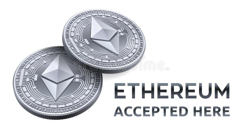 Ethereum. Accepted sign emblem. Crypto currency. Silver coins with Ethereum symbol isolated on white background. 3D isometric Phys stock illustration