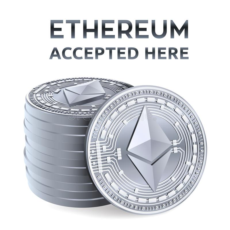 Ethereum. Accepted sign emblem. Crypto currency. Stack of silver coins with Ethereum symbol isolated on white background. 3D royalty free illustration