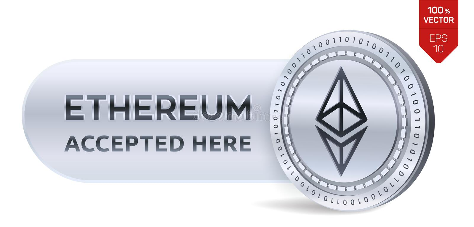 Ethereum accepted sign emblem. 3D isometric Physical coin with frame and text Accepted Here. Cryptocurrency. Silver coin with Ethe royalty free illustration