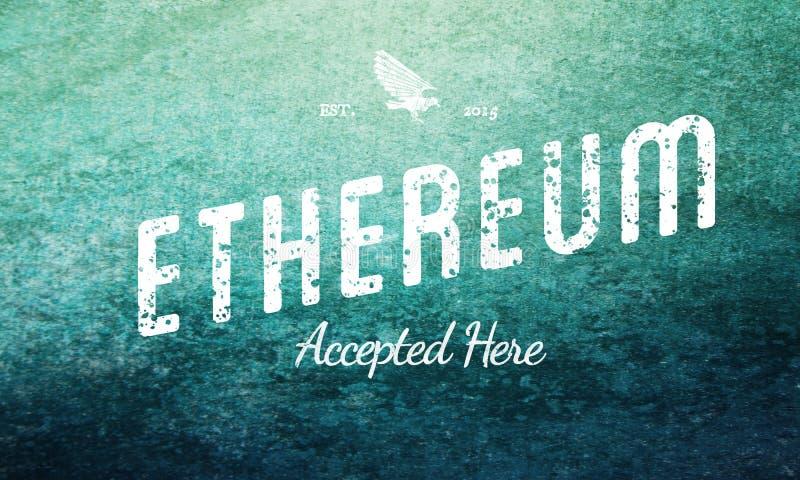 Ethereum aceptó aquí blanco retro del diseño en azul stock de ilustración
