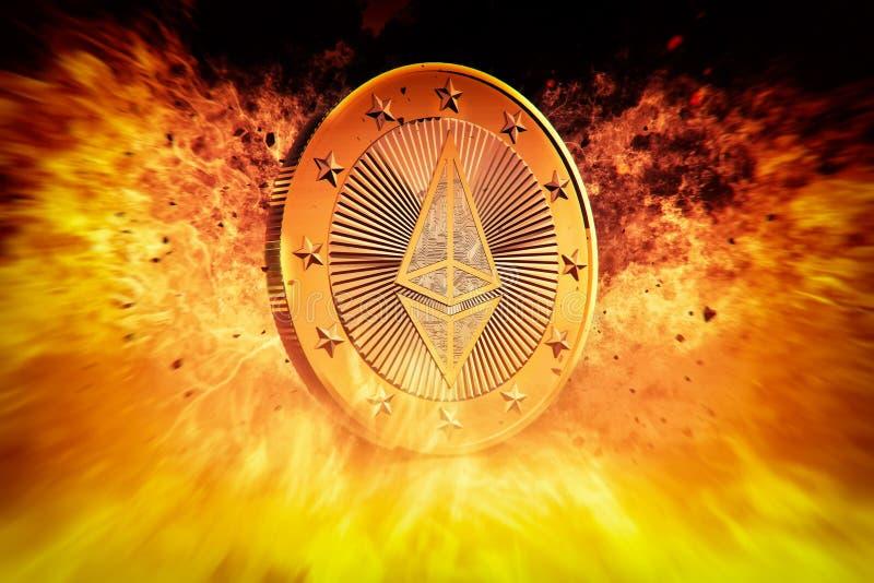 Ethereum auf Feuer - Ethereum die virtuelle Währung vektor abbildung