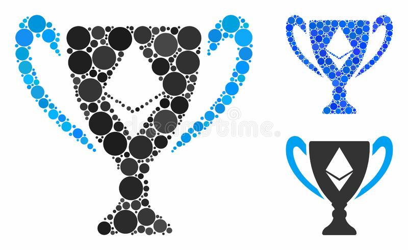 Ethereum award cup Mosaic Icon of Circle Dots. Ethereum award cup composition for Ethereum award cup icon of round dots in variable sizes and shades. Vector royalty free illustration