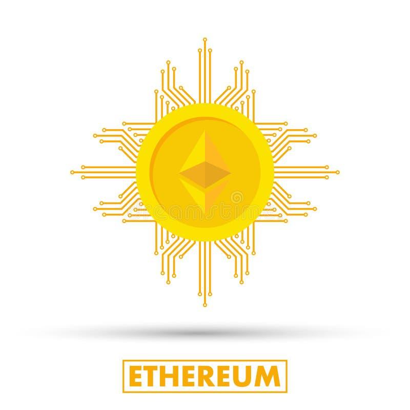 Ethereum begrepp Den Cryptocurrency logoen suckar Digital pengar Kvarterkedja, finanssymbol Plan stilvektorillustration stock illustrationer