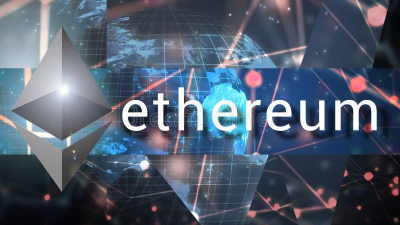 Ethereum blockchain技术,背景抽象例证 库存照片