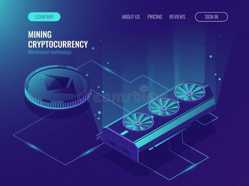 Ethereum Blockchain isométrico, la informática grande, estante del sitio del servidor, servidor Crypto de la granja de la explota ilustración del vector