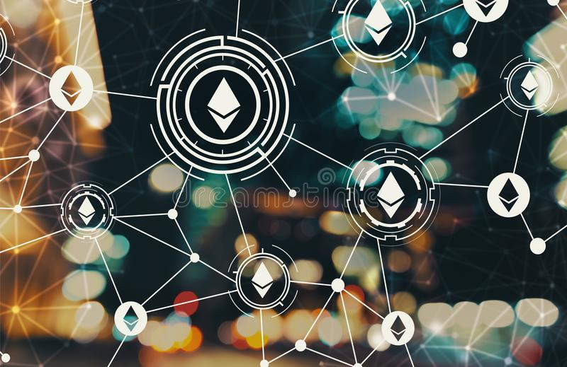 Ethereum with blurred city lights. Ethereum with blurred city abstract lights background stock illustration