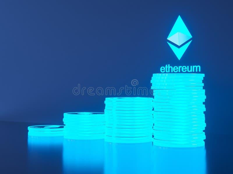 Ethereum brillante en primer borroso finanzas y actividades bancarias de la Crypto-moneda como concepto del ejemplo 3D ilustración del vector