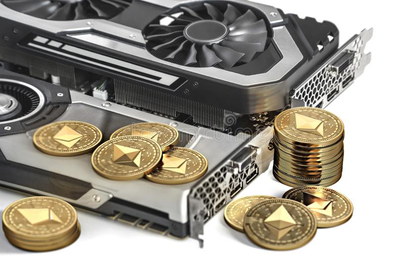 Ethereum bryta Genom att använda kraftiga videokort för att bryta och tjäna cryptocurrencies royaltyfri illustrationer