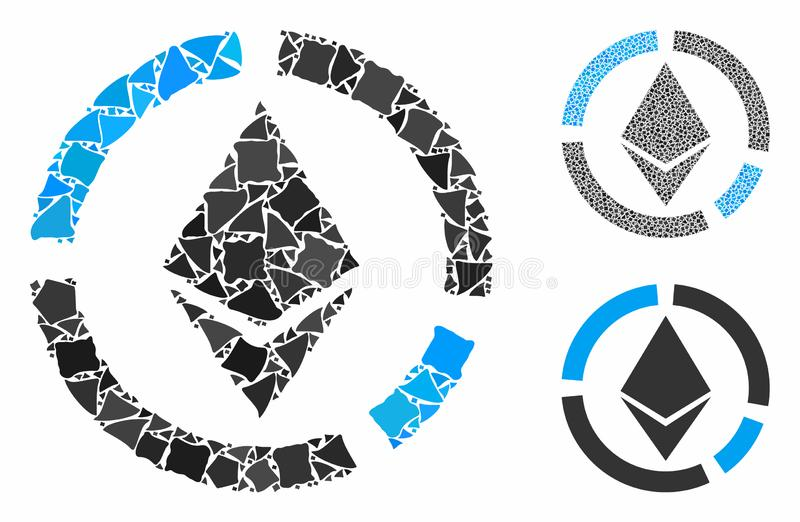 Ethereum circle diagram Mosaic Icon of Ragged Pieces. Ethereum circle diagram composition of irregular elements in different sizes and color tints, based on stock illustration