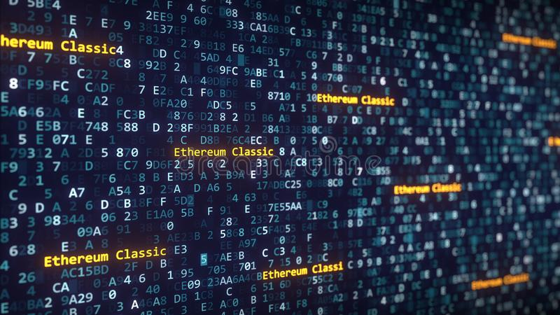 Ethereum Classic captions appearing among changing hexadecimal symbols on a computer screen. 3D rendering. Ethereum Classic captions appearing among changing vector illustration