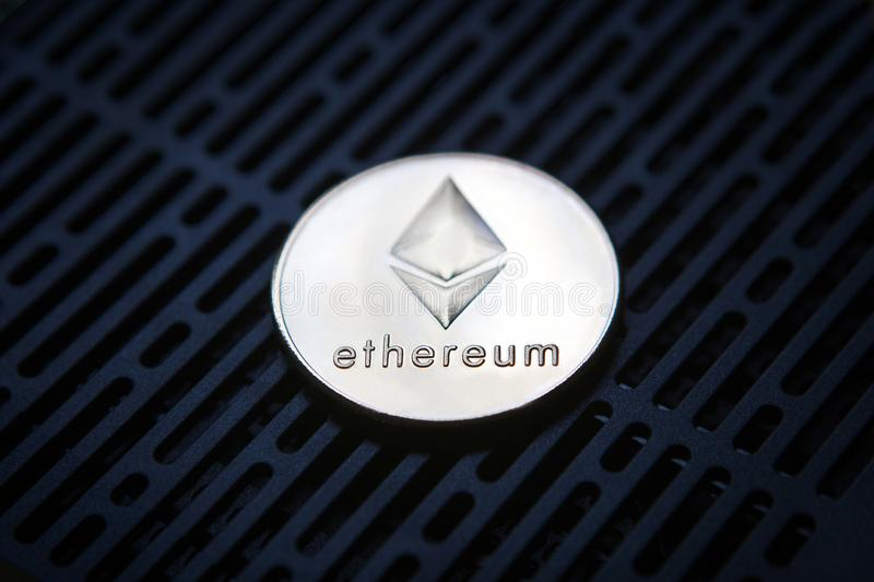 Ethereum coin crypto currency money stock image