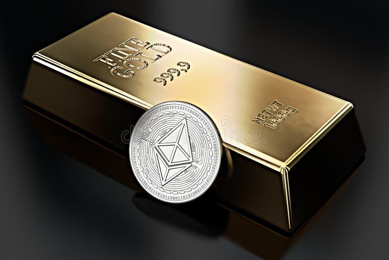 Ethereum coin lean against gold ingot bullion bar. Ethereum as desirable as gold - concept. 3D rendering stock illustration