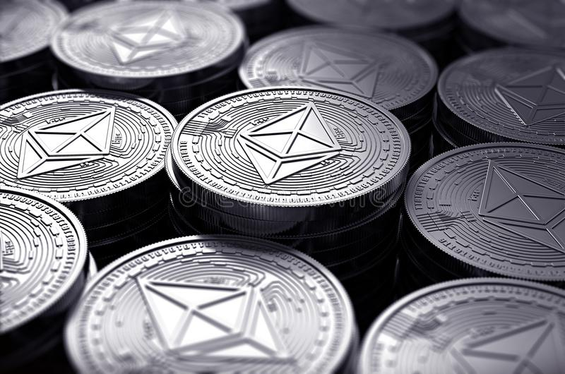 Ethereum coins ETH in blurry closeup. New cryptocurrency and modern banking concept. 3D rendering vector illustration