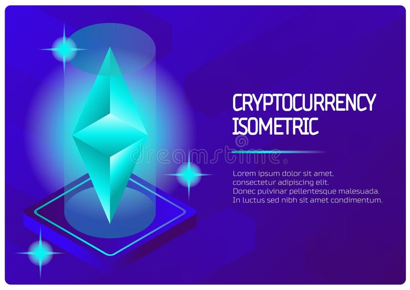 Ethereum color isometric banner stock illustration