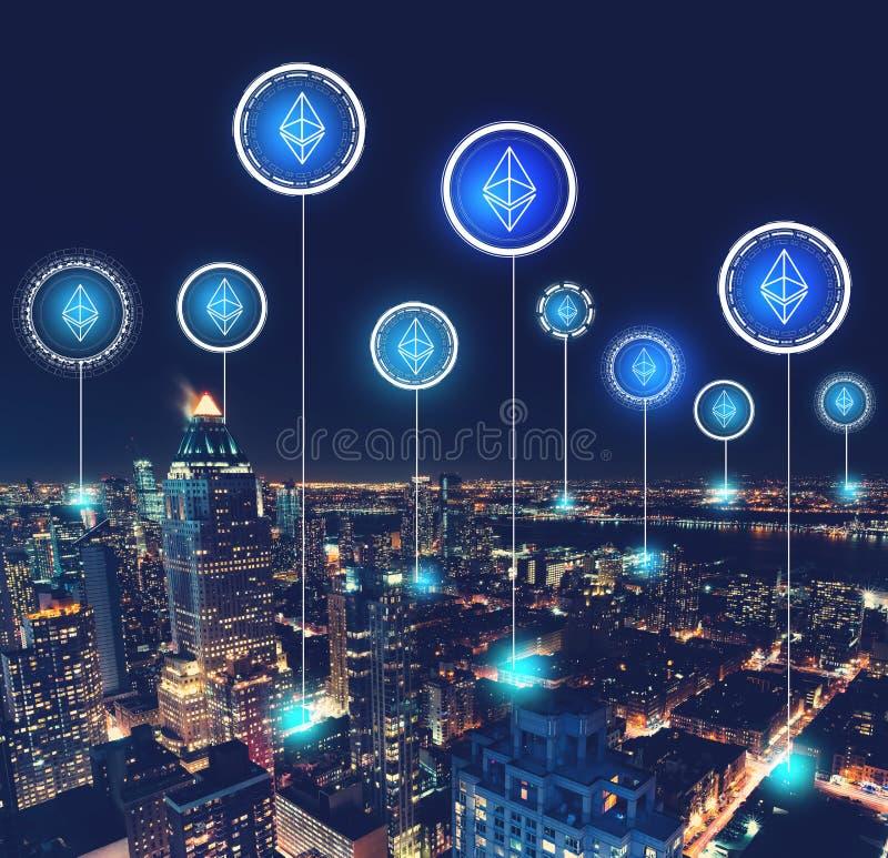 Ethereum com vista aérea de Manhattan fotografia de stock royalty free