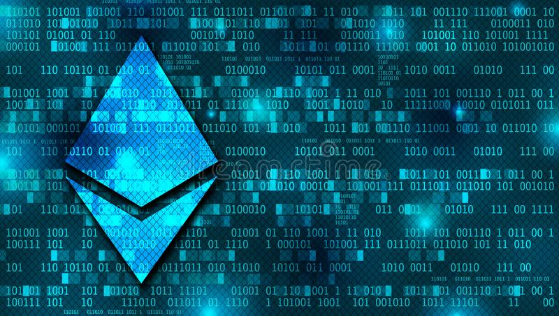 Ethereum concept background with binary numbers. At the back stock photography